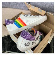 Italien Deluxe Märke Golden Sneakers Kvinnors Små Smutsiga Skor Ny Graffiti Retro Inside Ökad Cowhide Star Made Old Dirty Shoes Leende Face Board Shoes 34-45