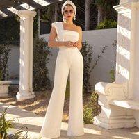 أبيض واحد الكتف بذلة وصيفة الشرف فساتين بسيطة الكاحل طول الساتان الزفاف الزوار الزي تخصيص ملابس رسمية