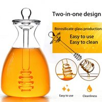 Storage Bottles & Jars 500ml Clear Honey Jar Container Bee Drip Dispenser Kettle Glass Bottle With Dipper And Pot Box Kitchen Tools