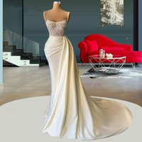 2022 Beading Evening Dress Spaghetti Straps Satin Mermaid Prom Gowns Pearls Pleat Sweep Train Dresses Vestidos De Novia