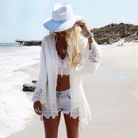 Seksi Plaj Kapak Up Beyaz Tığ Tunik Kadınlar Bikini Kapak-Ups Beachwear Mayo Gevşek Elbise Mayo Kadınlar