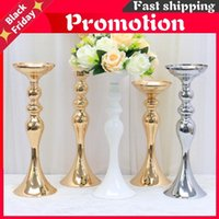 Decorative Flowers & Wreaths Gold White Silver Candle Holders Metal Candlestick Flower Stand Vase Table Centerpiece Event Rack Road Lead Wed
