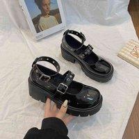 Dress Shoes Sapatos femininos vintage em couro sólido, calçado oxford japonês à prova d'água plataforma com fivela, sapatos casuais para faculdade FPUG