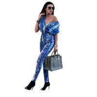 Neck Jumpsuits Women Rompers Summer Sexy Serpentine Print Drawstring Short Sleeve Streetwear Macacao Feminino D30 Women's &