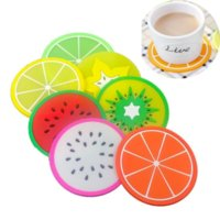 2021 Hot Fruit Silicone Coaster Mats Pattern Colorful Round Cup Cushion Holder Thick Drink Tableware Coasters Mug pad