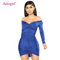 Casual Dresses Adogirl Solid Drawstring Draped Women Bodycon Dress Sexy V Neck Off Shoulder Long Sleeve Sheath Mini Club Party Vestidos
