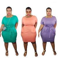 Womens Designer Dress Summer Crew Neck Short Sleeve Solid Color Bandge Dress Plus Size Women Clothing 2021