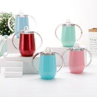 10 Unzen Kaffeetasse Sippy Becher Edelstahl Tumbler mit Doppelgriff Eierbecher Vakuumisolation Baby Wasserflasche ZWL01-1