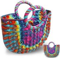 35*30cm Super Size Women's Latest Fashion Rainbow Silicon Handbag Push Pops Bubble Dimple Popper Sensory Fidget Toys Game Gift