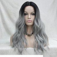 Non tagliare il fronte del pizzo! HIVISION Quality Heat OK Synthetic Black to Grey Ombre Long Wovy Wig