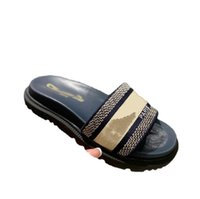 [Kutu ile] kalın alt tercihli 2021 tasarımcı deri kadın terlik sandalet denim yaz düz açık plaj bayanlar gökkuşağı 34-40