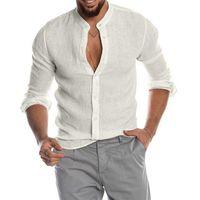 Men's Casual Shirts 2021 Summer Men Shirt Baggy Cotton Linen Solid Long Sleeve V-Neck Retro Top Blouse Streetwear Camisas Hombre