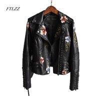 Ftlzz mulheres floral impressão bordado bordado macio jaqueta de couro casaco colarinho casual pu mootcycle preto punk outerwear