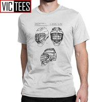 Homens Camisetas Gelo Hóquei Goleiro Máscara Patente Preto T-shirt Esportes Picks Disco Vintage T-shirts 210420