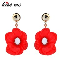 Dangle & Chandelier KISS ME Red Resin Zinc Alloy Flower Big Earrings For Women Fashion Statement Jewelry