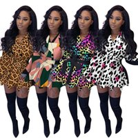 Women's Jackets Women Clothes Casual Long Sleeve Trench Coat Splicing Leopard Print Womens Coats