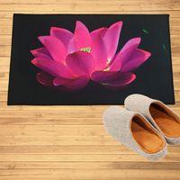 Alfombras Pink Lotus Flower Black Pitters Mats Pastería Puerta Cuarto de baño Alfombras de cocina Piso personalizado Alfombra Boda Decoración del hogar