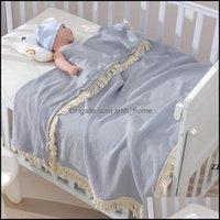 Textiles Home & Gardeby Tassel Blankets Born Swaddle Muslin Diaper Kids Bath Towel Gauze Solid Infant Fringe Swaddles Blanket Sea Hwd9658 Dr