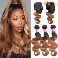 Fonctions de cheveux vierges 1b / 30 Brésilien Body Wave avec fermeture Ombre Bonds de cheveux humains 4x4 Fermeture en dentelle avec paquets de cheveux