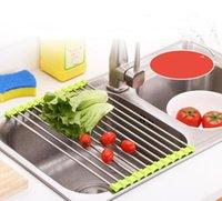 Кухонная раковина дренажного стойки блюдо дренажера Placemat нержавеющая сталь нескользящая складная сушильная стойки держатель для чаши фруктовые растительные GWA5109