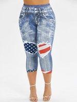 Wipalo plus size americano bandera impresa flaca capri pantalones mujeres alta cintura lápiz lápiz verano 3d jeans imprimir leggings 5xl mujeres