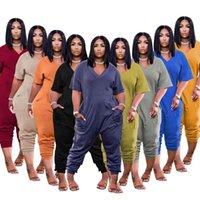 Kadın Eşofmanlar 2021 Bahar Ve Yaz Katı Renk Moda Rahat Sokak Giyim Tulum Şort Takım Elbise Artı Boyutu Tasarımcı Bayan Giyim XS-3XL