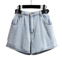 Women's Jeans Plus-sized Denim Shorts Summer 2021 Causal Loose Blue Elastic Waist Pocket A- Line Wide Leg Pants 4xl 5xl 6xl