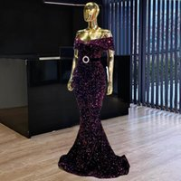 Off the Shoulder Prom Dresses Middle East Sequins Long Mermaid Formal Party Night Gowns 2021 Dubai Design Evening Dress Vestidos