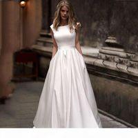 Wedding Dresses With Pocket Vestido de novia Satin White Sleeveless Bridal Gowns Floor Length Wedding Gown