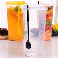 960ml Einwegbecher dicke transparente Plastik-Trinkbecher mit Deckelsaft-Teetasse mit Gabel