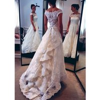 New Boho Beach Wedding Dresses 2020 Off Shoulder full Lace Appliques Bridal Gowns Ruffles A Line Wedding Dress Robe De Mariee