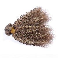 9A Brasileño Ombre Ligero marrón profundo Rizado Virgin Virgin Virths 3pcs # 8 613 Mezcla color Piano Color 100% Human Hair Weave Bundles Extensions