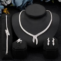 Earrings & Necklace High Quality Bridal Zirconia Luxury Necklaces Rings Dubai Nigeria CZ Crystal Wedding Full Jewelry Sets For Women