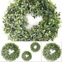 Konstgjorda gröna bladkrans - 17,5 tums främre dörrkransskal gräs boxwood för väggfönsterparty dekor 533 v2