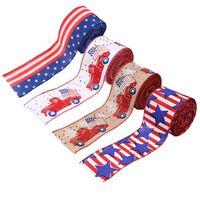 Home Crafts Bricolage Décoration Étoiles Stripes Patriotique Satin Ruban Spolbon Spool Journée 4 du mois de juillet XBJK2105