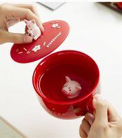 Schwein kleine heiße Starbucks Tassen Nette Keramik Kaffeetasse für neue Jahre Chinesischer Tierkreis 350ml 2021 Tasse Geschenk KFGPO