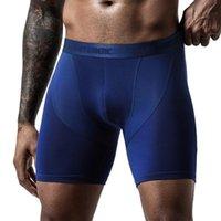 Underpants Ice Silk Men Underwear Sports Panties Breathable Mesh Running Lengthened Anti-wear Leg Modal Boxer Briefs Solid