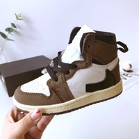 2021 Baby Infant Mokka Rot Top Travis Scott Basketballschuh Kinder High Og Kids Jacks 1s Sneaker Jugend Niedliche Geschenk Sneakers