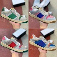 Zapatos de piel de cuero sucio Verde y rojo web Stripe Luxurys Designer Sneaker Italia Escritora angustiada para hombre Zapato casual