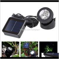 Spotlight Spotlight da lâmpada de energia solar impermeável na lagoa da piscina Lâmpadas exteriores Ljjz434 LIDMB Lanternas portáteis QZCG5