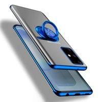 Plating Transparent Clear TPU Cases For Samsung Galaxy A01 A10S A21S A30 A40 A50 A31 A51 A71 A60 A70S Ring Holder Soft Cover