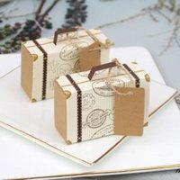 Boîte d'emballage de papiers à bonbons de papier rétro délicates valises boîtes de forme avec carte d'identité pour la fête du choîtier de mariage cookie au chocolat cadeau cadeau