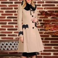 Women's Trench Coats Fashion Winter Women Solid Colors Lace Patchwork Plush Removable Collar Pockets Long Sleeve Button Jacket Coat Outerwea