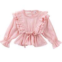 Shirts DFXD Princess Girls Ruffled Cotton Blouse Shirt Irregular Fashion Kids Tops Outfit Spring Toddler Clothes 2-7T Pink Yellow White