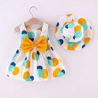 Girl's Dresses Girls Dress Bow Polka Dot Print Toddler Baby Kid Sleeveless Princess Hat Outfits Square Collar Summer Party Vestidos