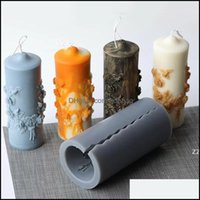 Décor Home & Gardenbig Sile Pillar Candle Molds Cylindrical Mod Column Vintage Flowers Diy Scented Candles Making Mold Hwf9841 Drop Delivery