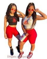Sommer Yoga Shorts Trainingsanzüge Womens Brief Gedruckt Shirt Bodycon Zwei Teile Set Crop Tops + Bike Shorts 2021 Casual Sportswear