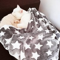 Kennels & Pens Warm Cat Dog Bed Star Print Puppy Blanket Soft Flannel Fleece Sleeping Mat Cover House For Dogs Pet Supplies 3 Sizes