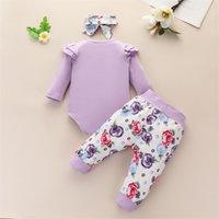2021 New Design 65 styles Baby Girls Boy 3 Piece sets Flowers Print Romper + Pant headband Infant kids Clothing set 4695 Q2