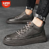 Winter men's shoes Korean fashion trendy casual sports black high-top thick-soled board leather #o54j